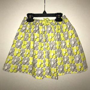 Mini Boden yellow, gray and white print skirt